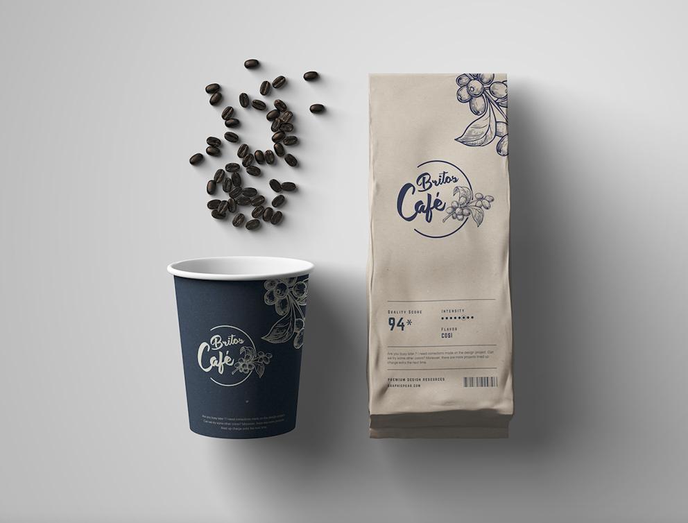 Logotipo e embalagem de café